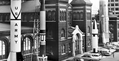 rockets outside of entrance