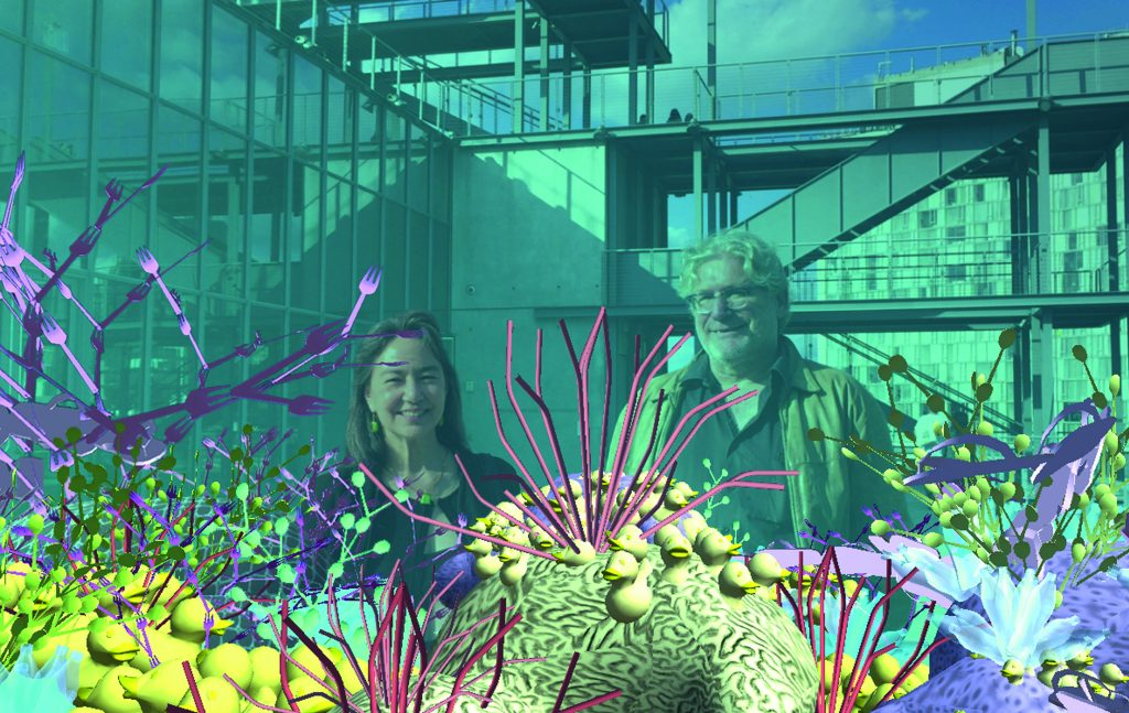 Tamiko Thiel and Peter Graf standing in front of augmented reality art