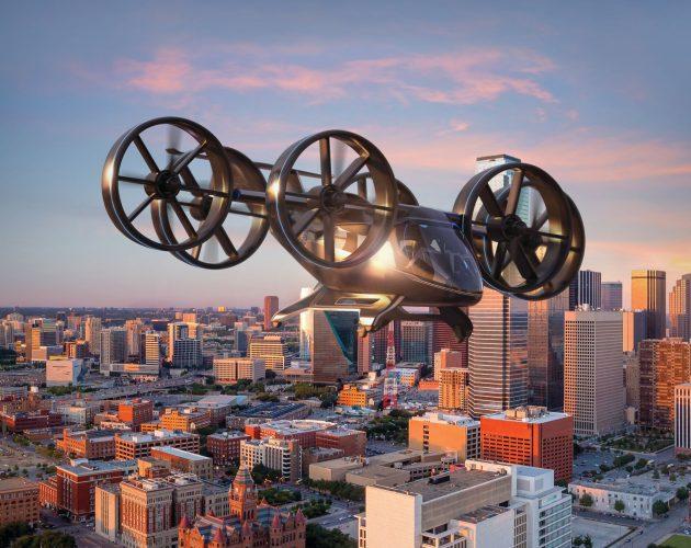 rendering of bell nexus air taxi flying